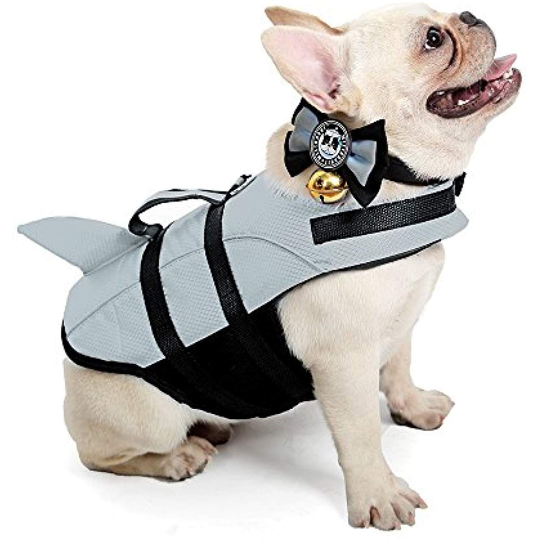 Kimol Large Dog Life Jacket Shark Dog Swimming Vest, Grey