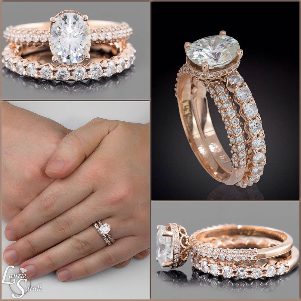 She will love this gorgeous oval moissanite engagement ring with