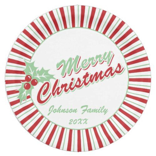 Candy Cane Holly | Custom Christmas Paper Plates  sc 1 st  Pinterest & Candy Cane Holly | Custom Christmas Paper Plates | Christmas Party ...