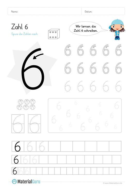 ein kostenloses mathe arbeitsblatt zum schreiben lernen der zahl 6 auf dem die kinder die zahl. Black Bedroom Furniture Sets. Home Design Ideas