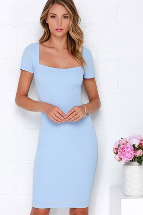dd9b83a01b81 The Photo Opportunist Powder Blue Bodycon Midi Dress is ready for a  closeup! Textured and stretchy medium-weight knit falls elegantly to a wide  neckline ...