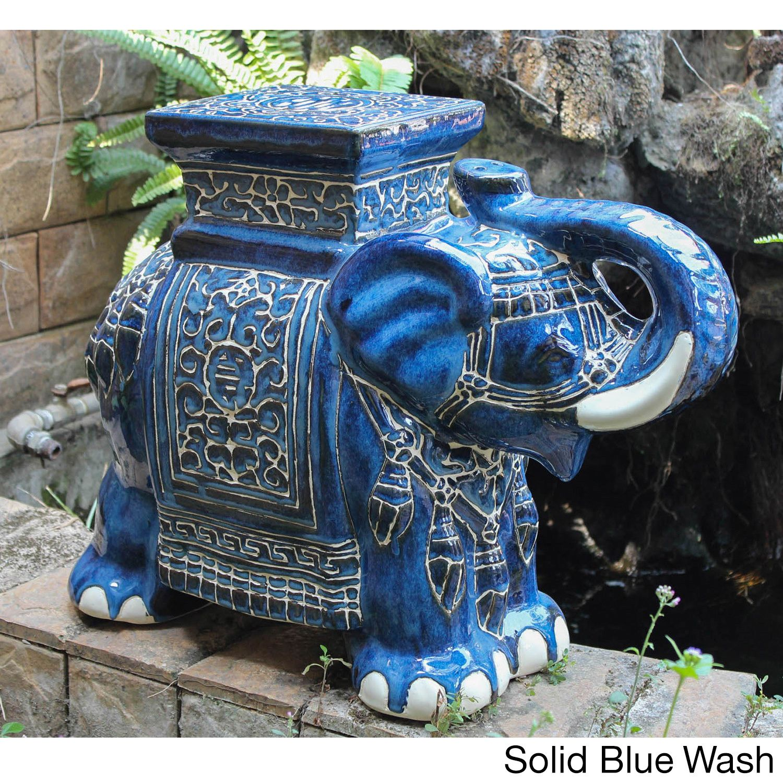 International Caravan Large Porcelain Elephant Stool In 400 x 300