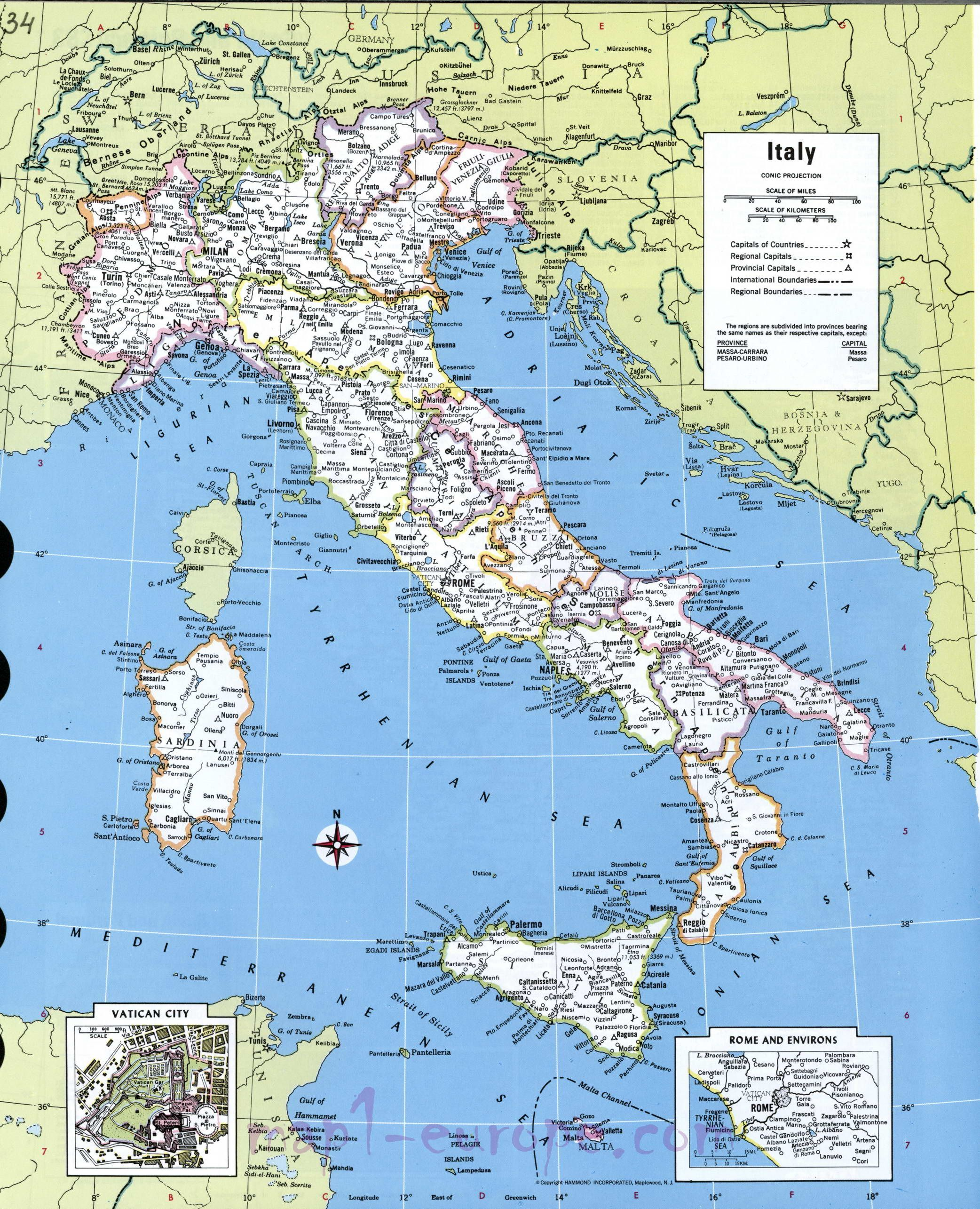 Detailed Map Of Italy Italien