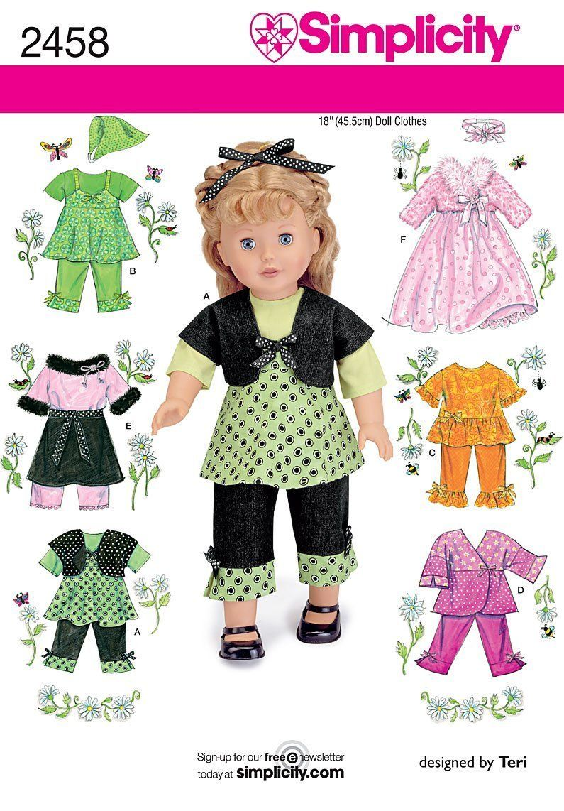 One Size SIMPLICITY 1086 18 Doll Clothes Sewing Template Size OS