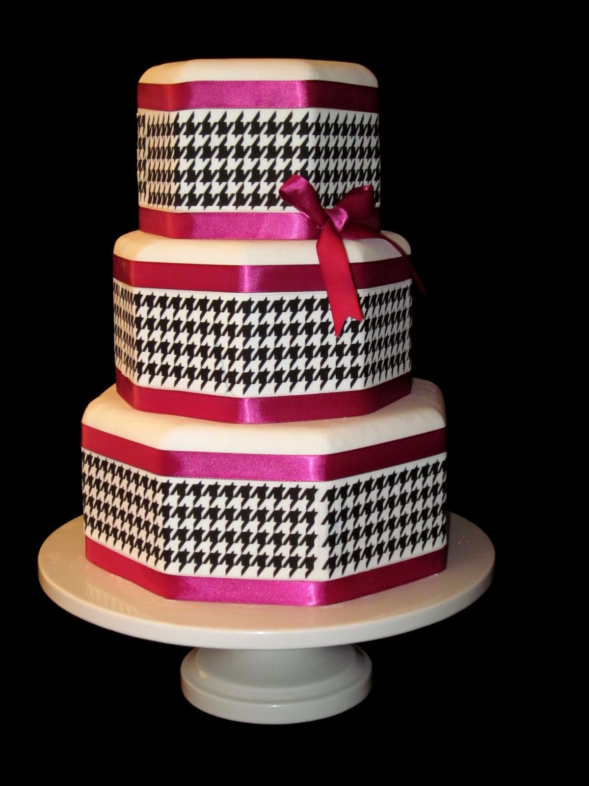 Outstanding Black White Hot Pink Houndstooth Birthday Cake Lexington Ky Funny Birthday Cards Online Overcheapnameinfo