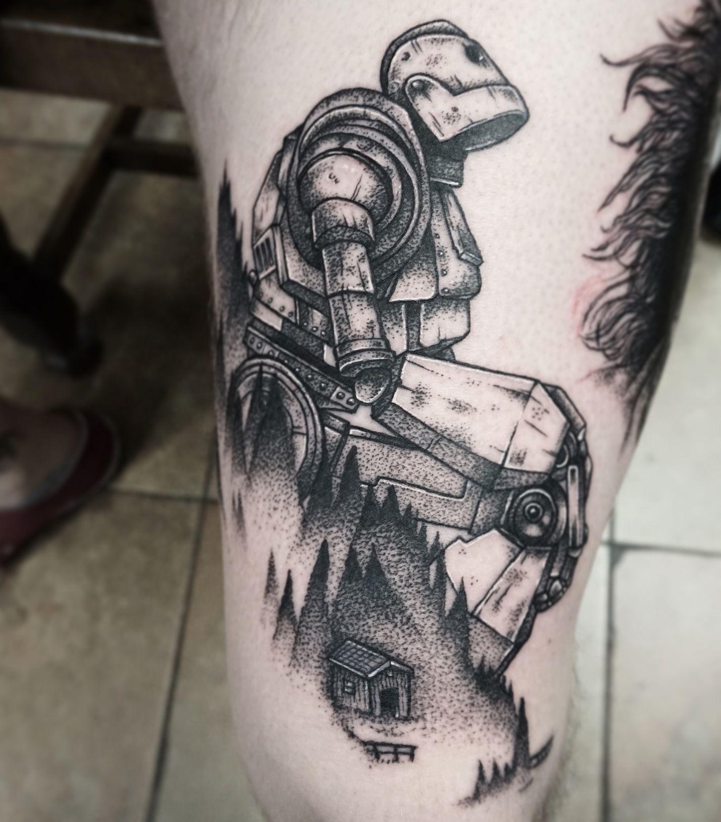 Flaming art tattoo for geek tattoo lovers this kind of batman - Iron Giant Tattoo