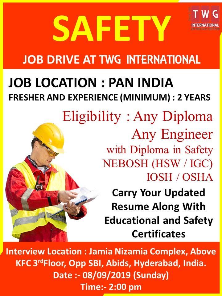 SAFETY JOBDRIVE AT TWGINTERNATIONAL Job Location PAN