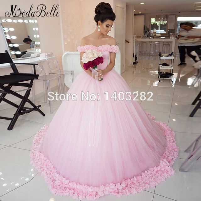 2017 Princess Pink Puffy Ball Gown Beach Wedding Dresses Flowers ...