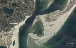 Look at this truly amazing image from Google Earth of the shifting sands of North Beach Chatham. North Beach is home to a very large seal population who have become beacons to the Cape's newest visitors, the sharks. And now it appears even the outer beach itself has formed into the shape of a #shark. | Chatham, Cape Cod #lighhousebeach