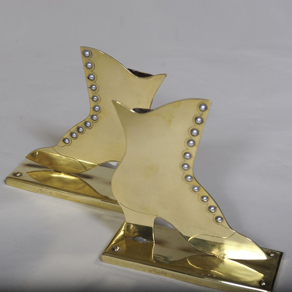 """Pair of Large Size Brass Boots - Victorian match stands  Width: 7"""" / 18cms Height:8"""" 20 cms"""