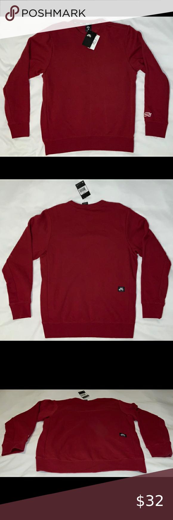 Predownload: Nike Sb Red Crewneck Sweatshirt Large Nike Sb Crewneck Sweatshirt Size Large Color Red Condition New Wi Long Sleeve Tshirt Men Sweatshirt Shirt Red Crewneck [ 1740 x 580 Pixel ]