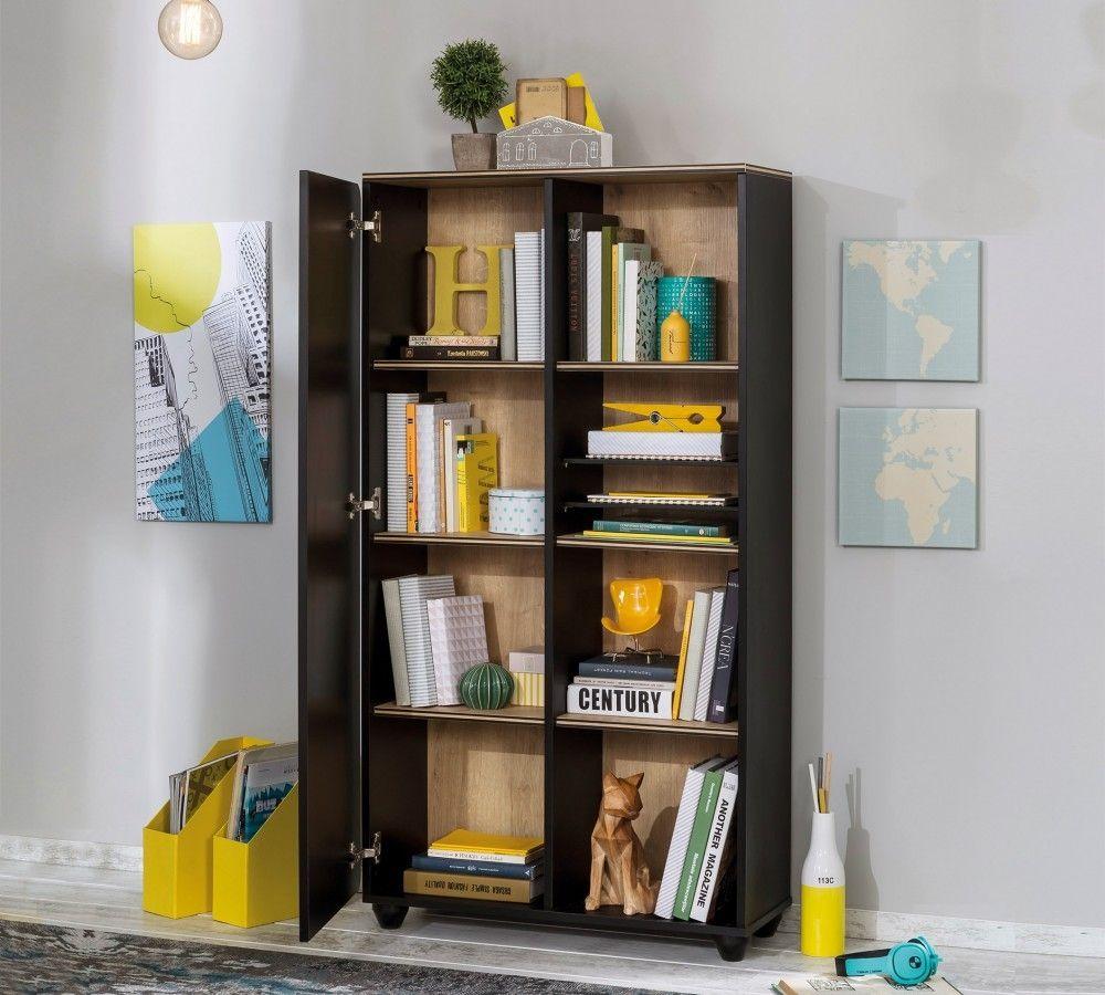 new york boekenkast kast zwart tienerkamer kinderkamer jongenskamer meidenkamer