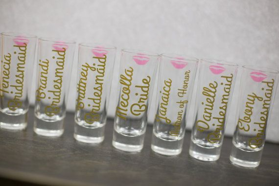 Bridesmaids shot glasses bachelorette favors by WaterfallDesigns