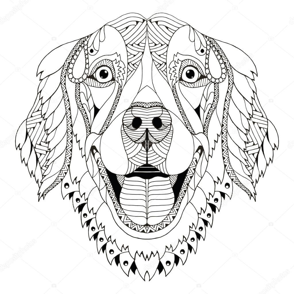 Ausmalbilder Hunde Golden Retriever : Descargar Golden Retriever Dog Zentangle Stylized Head Freehand