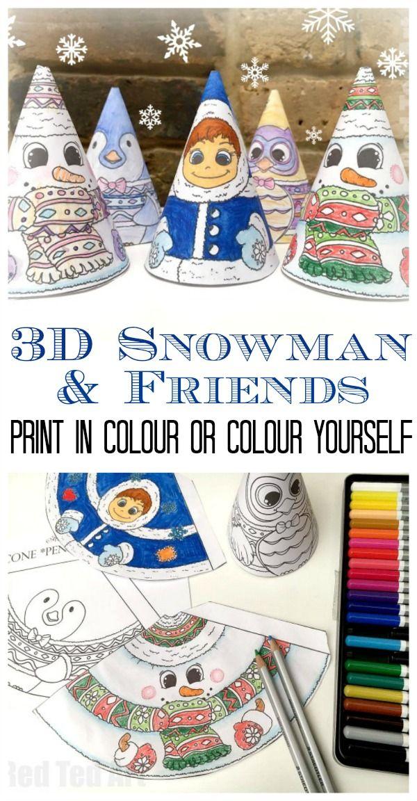 3D Christmas Coloring - 3D Snowman & Friends | Pinterest | Los ...