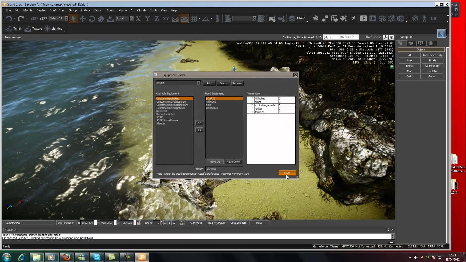 Tutorial CryEngine 3 - Armas - parte 33: Itens de inventário e Kits de Equipamento (jam3D)