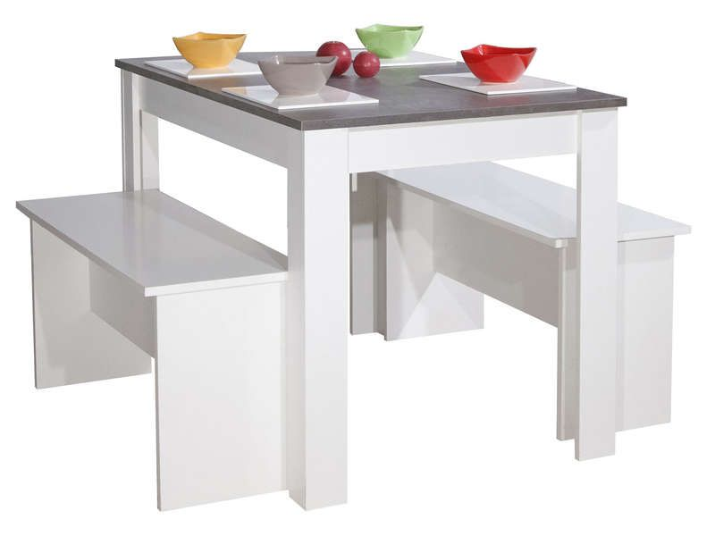 awesome Lot de 2 bancs + table PAROS coloris blanc et béton - Conforama Tables De Cuisine