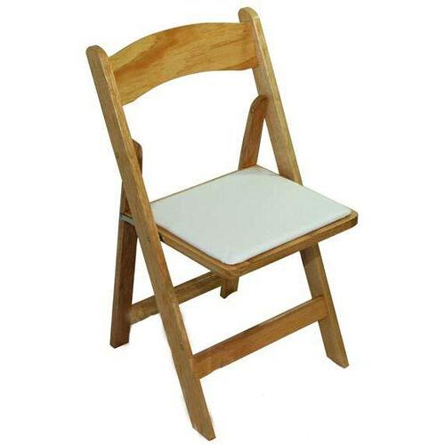 Classic Series 30 5 H Wood Folding Chair Natural White Vinyl