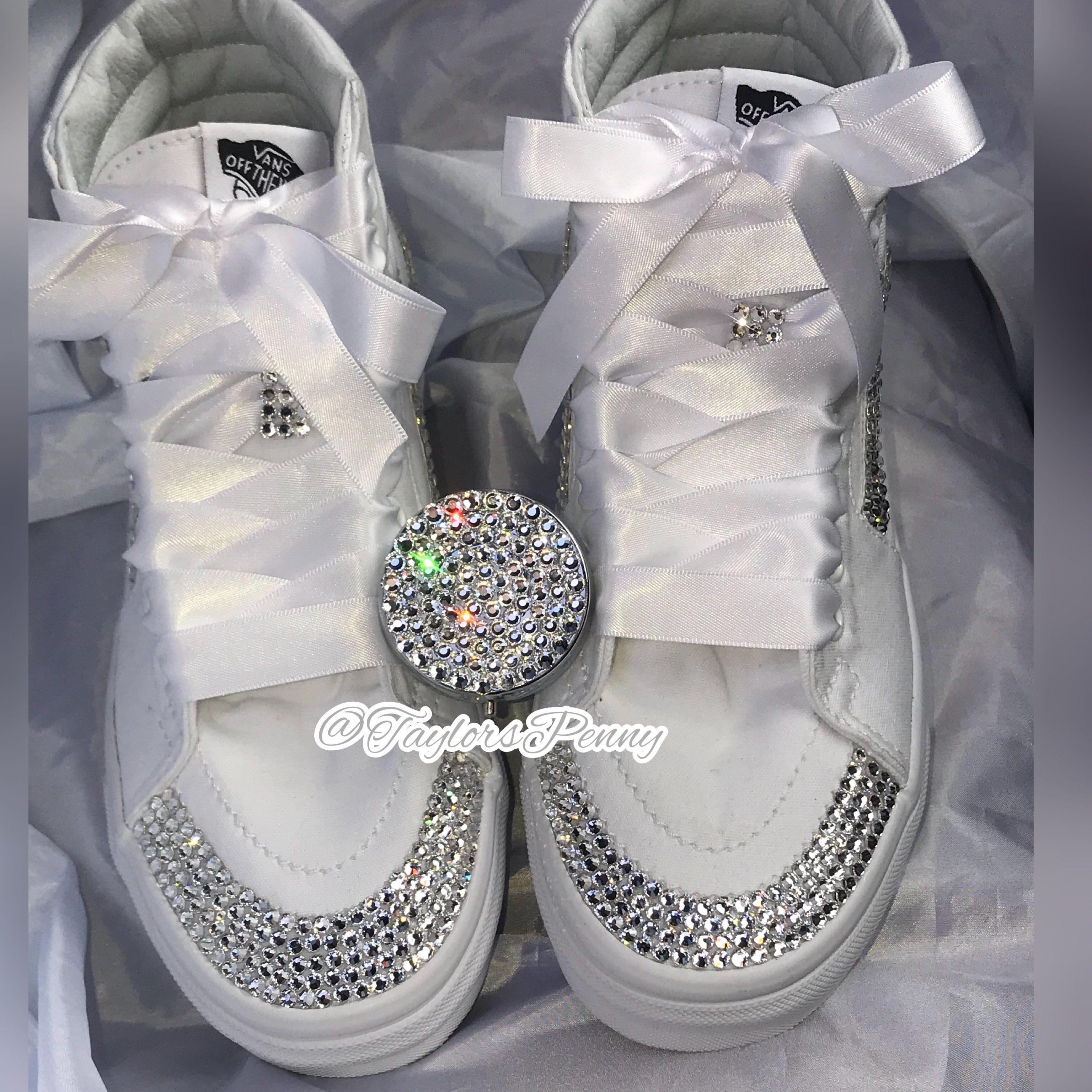 8efa505207b5a7 Bling Vans White SK-8 SKATE BOARD Sneakers
