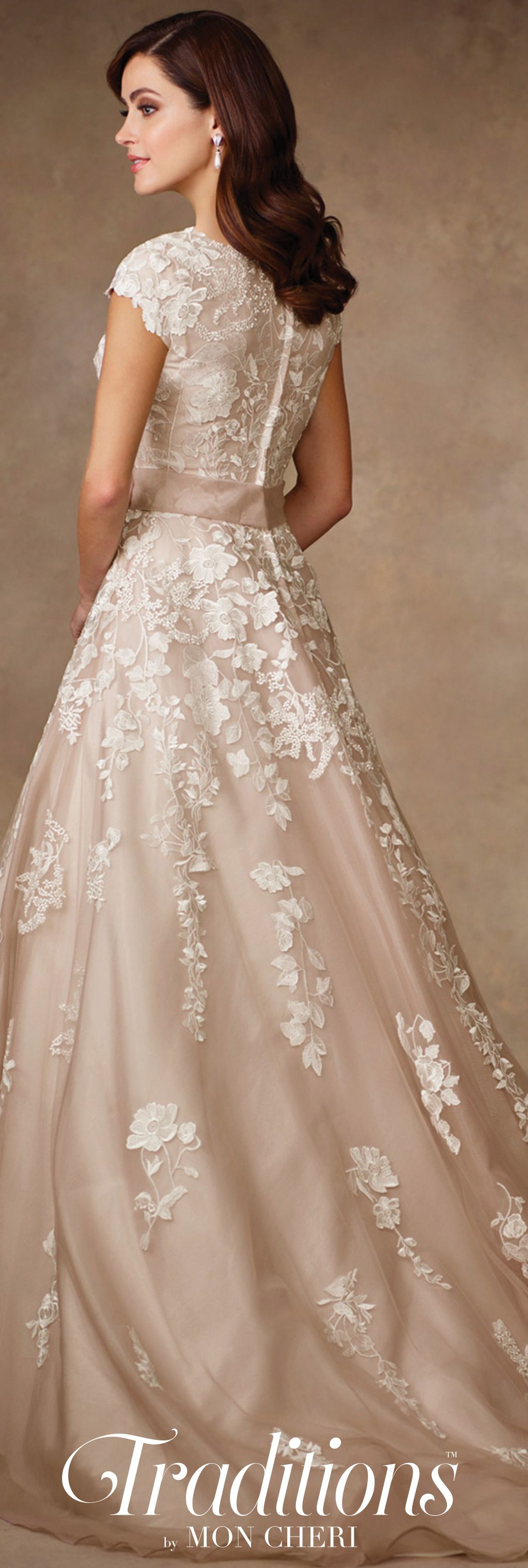 Conservative Lace A-Line Wedding Dress with Cap Sleeves- TR11707 ...