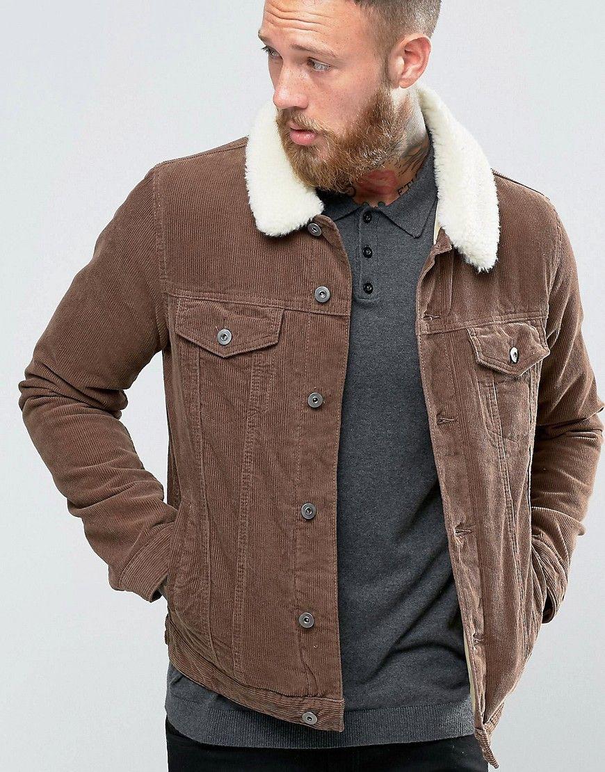 Asos Cord Western Jacket With Fleece Collar In Brown Brown Denim Jacket With Fur Mens Jackets Brown Denim Jacket [ 1110 x 870 Pixel ]