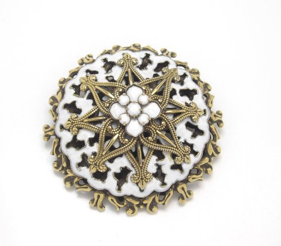 Milk Glass Brooch with Enamelling Brass Mid Century by OurBoudoir