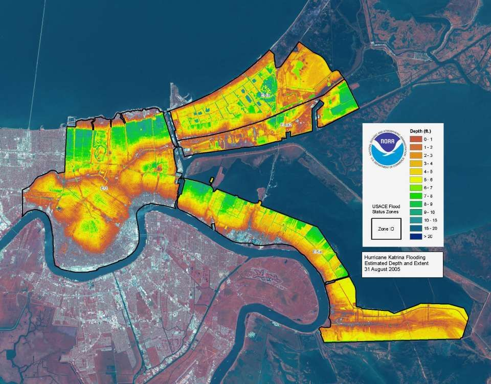 New Orleans Katrina Flood Map This map shows the depth of flooding in the New Orleans area post  New Orleans Katrina Flood Map