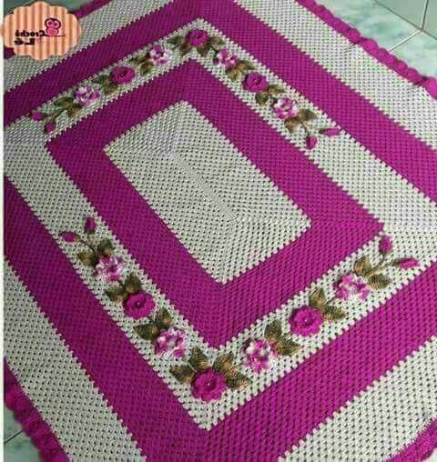 Tapete de croche quadrado com flores para sala