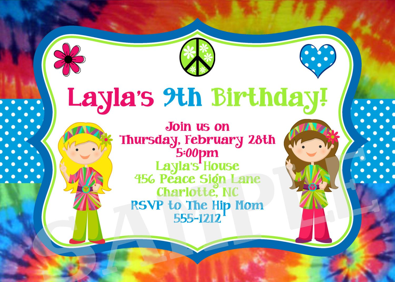 Download Now FREE Template Tie Dye Birthday Party Invitations | Baby ...