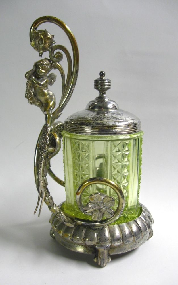 db82ca62845 Reed   Barton Victorian 1890s Vaseline Glass   Silver Plate Cherub Pickle  Caster in Antiques