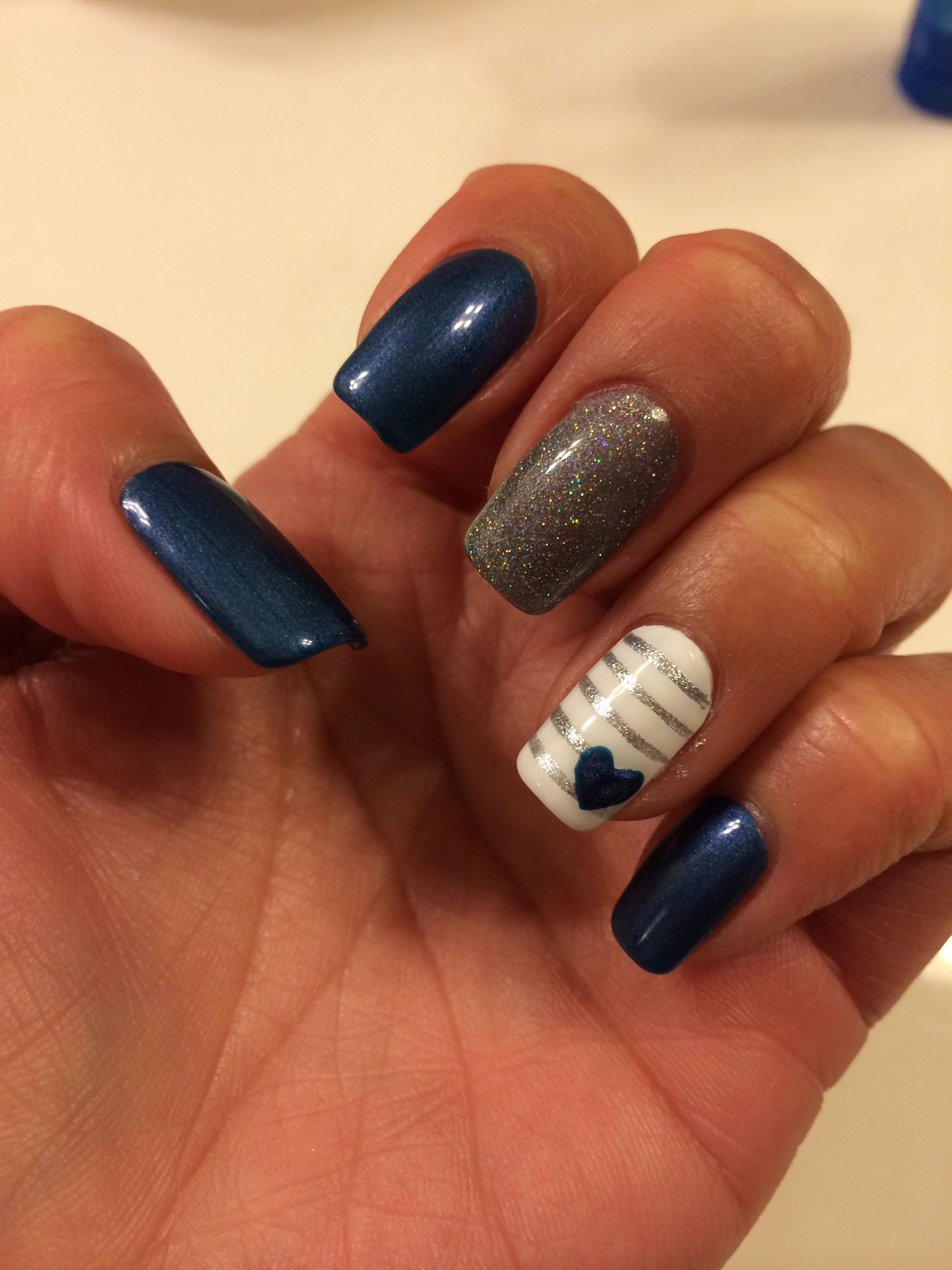 blue love gel nail heart nails