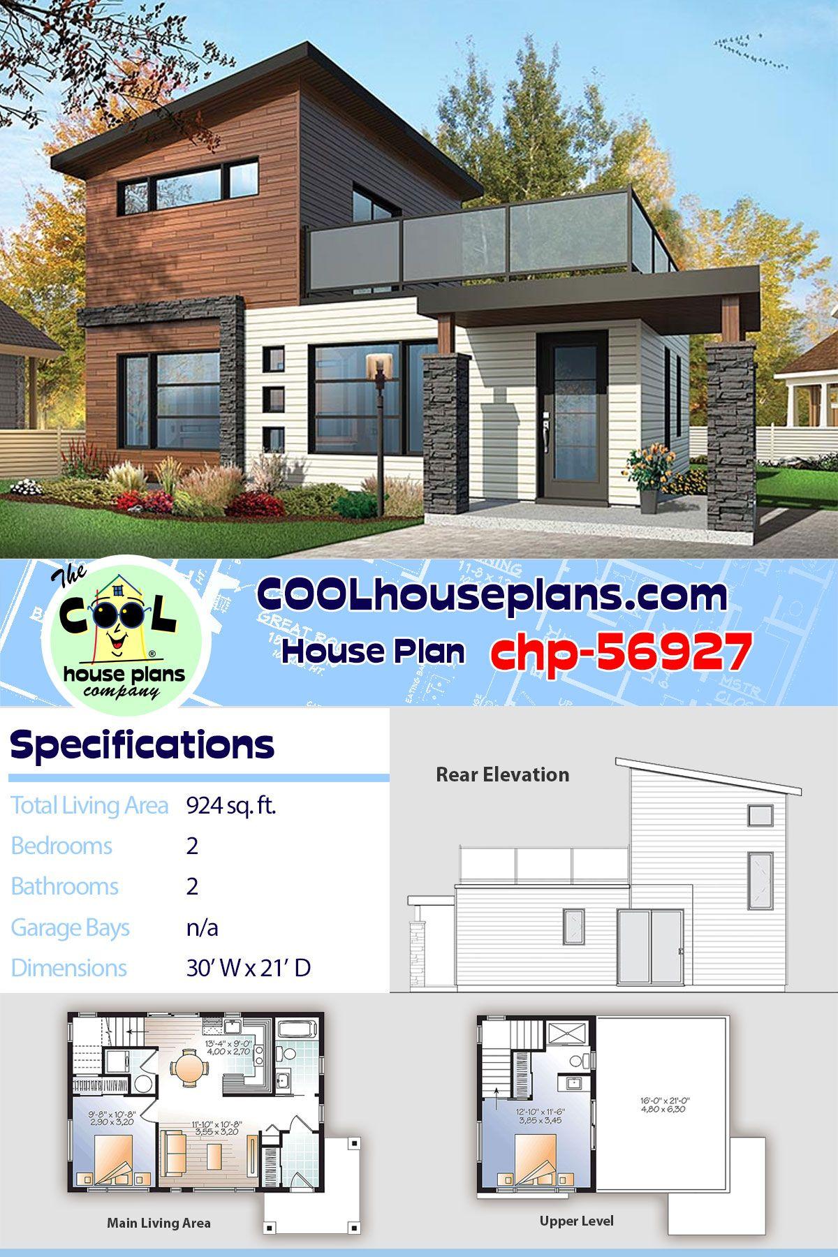 Modern Contemporary Home Plan Chp 56927 Small Floor Plan Under 1000 Sq Ft 2 Be Modern Contemporary House Plans Craftsman House Plans Contemporary House Plans