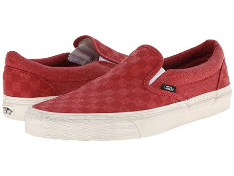 Vans Classic Slip On Overwashed Tango Red Checker, Vans, Shoes, Red