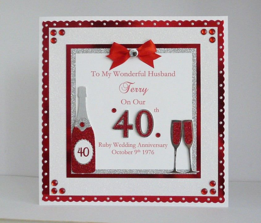 Embossed Foiled Greeting Card For My Special Wife On Our Ruby Anniversary