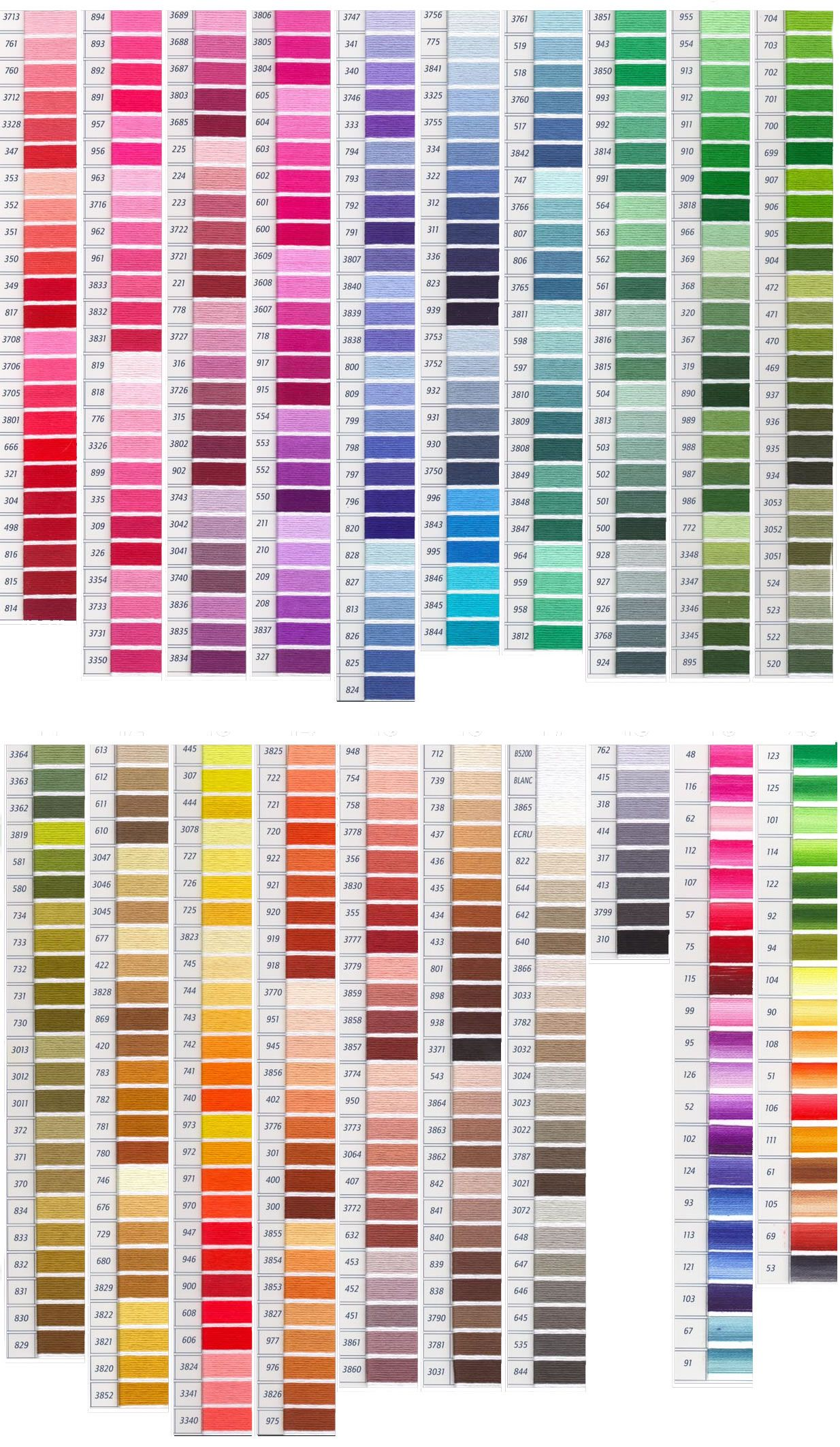 Dmc color chart linhas anchor embroidery floss patterns cross stitch also best images yarns colour rh pinterest