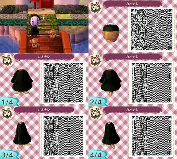 No Face Miyazaki Spirited Away Qr Code Acnl Qr Codes Animal Crossing Qr Codes Animals Animal Crossing Qr