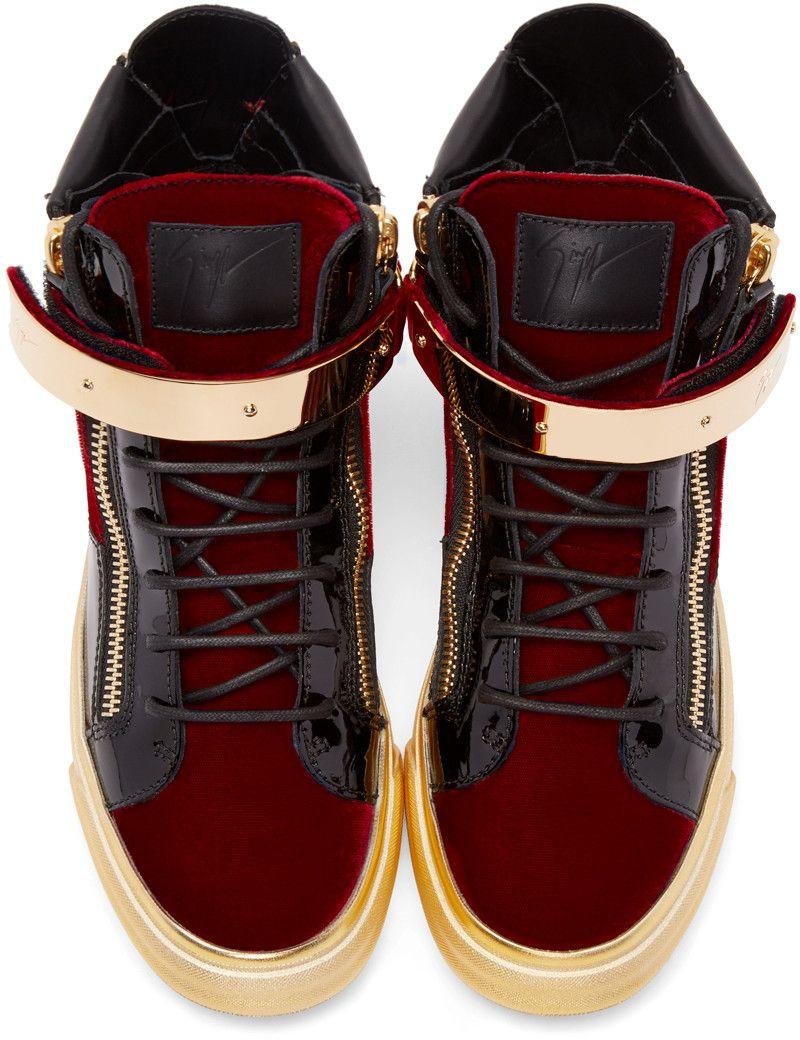 35c81b06150ff Giuseppe Zanotti - Black & Red Velvet London High-Top Sneakers ...