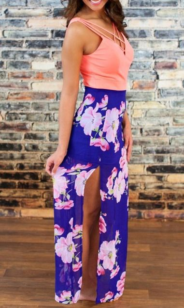 Pink Blue V Neck Floral Split Maxi Dress Mobile Site