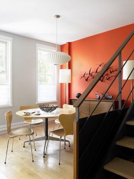 Orange Accent Wall Image Via Houzz Com The Front Room Across