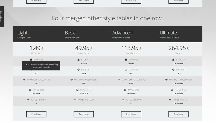 Bootstrap 3 Metro Pricing Tables Pricing Table Table