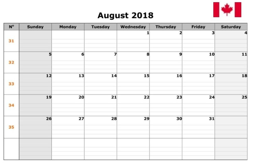 august calendar 2018 with holidays usa