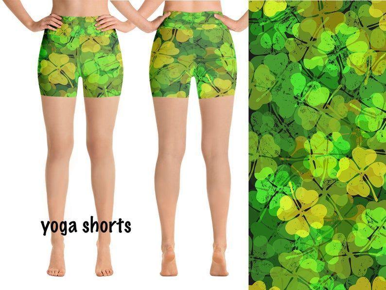 Grunge Shamrock Yoga Workout Leggings St Patrick's Day Yoga Capris Shorts Green Punk Rock Rave Style...