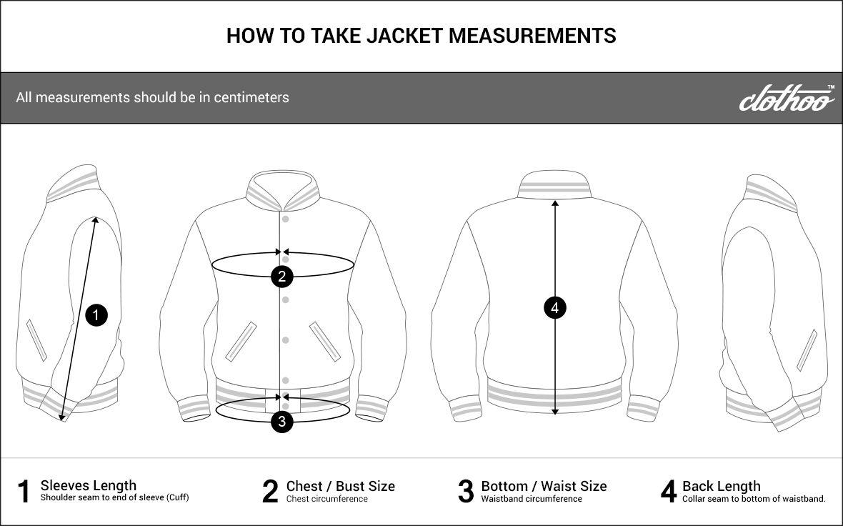 Varsity jacket size chart clothoo sizechart varsityjacket jacketsize women menjacket also design your online rh pinterest