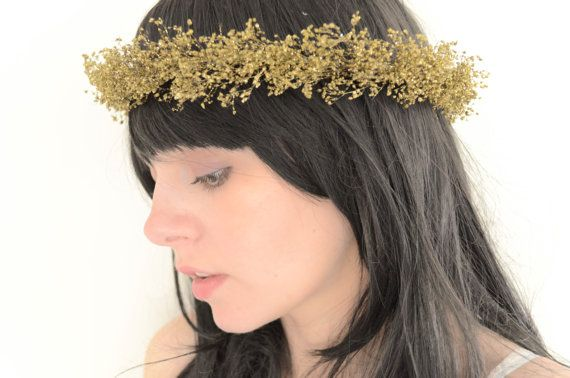 Gold Star Dust Halo Crown Natural Dried Babys Breath with Glitter Hair Wreath Whimsical Woodland Bride