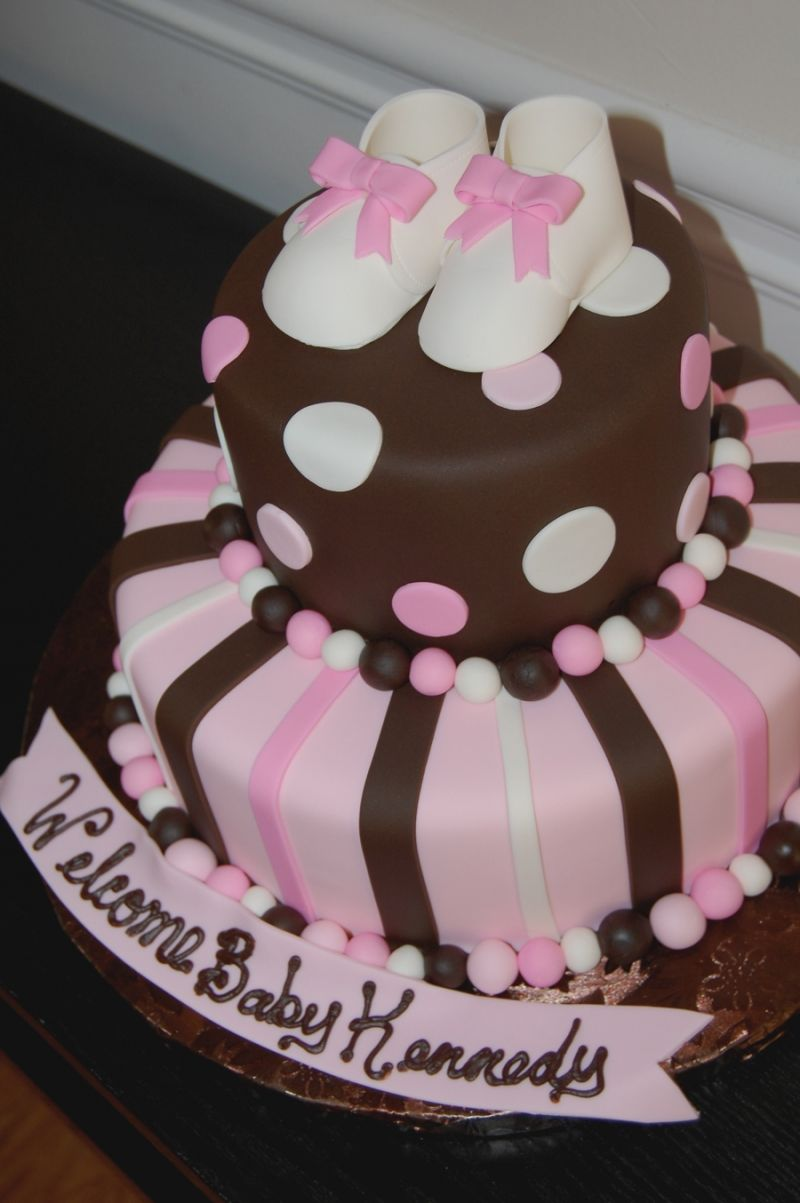 Pink & Brown Baby Shower Cake