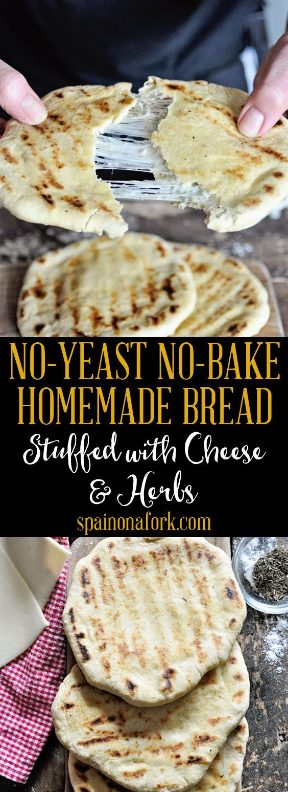 No-Yeast No-Bake Homemade Bread Stuffed with Cheese Herbs