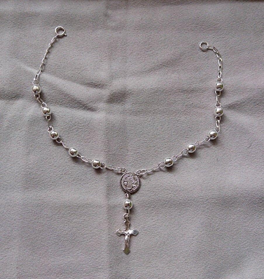 364100fd2d5e Pulsera tipo rosario con medalla de San Benito 0.925