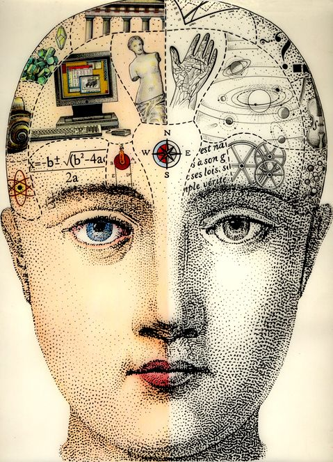 Left And Right Hemispheres Of The Brain This Is For Terri Ventura Art Phrenology Phrenology Head