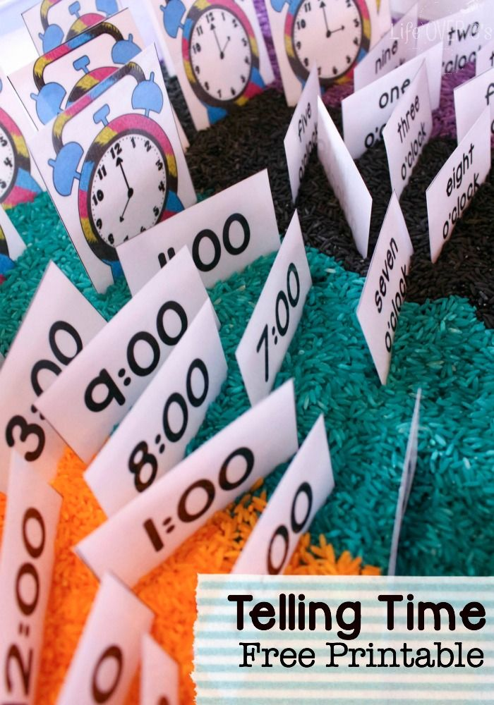 Time Sensory Bin with Free Printable for Telling Time | Telling time ...