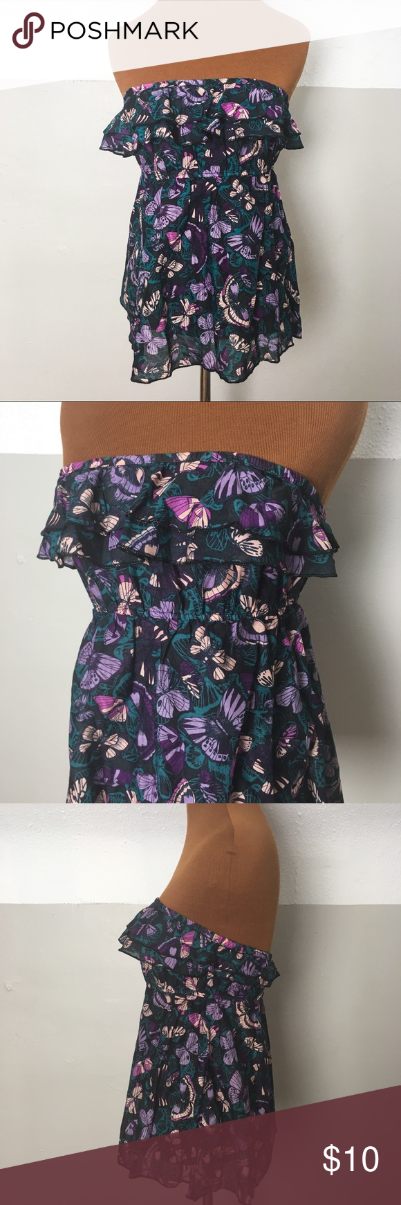ae5b30a7f0 H M butterfly print tube top with ruffle This top is in excellent condition  with no damage
